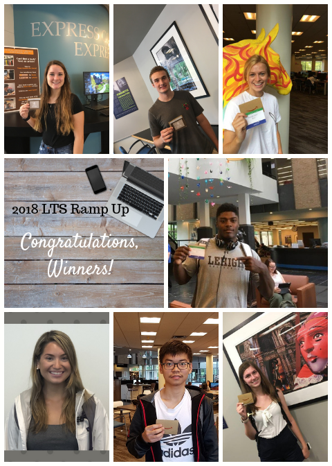 photo collage of seven ramp up winners holding their Amazon gift cards