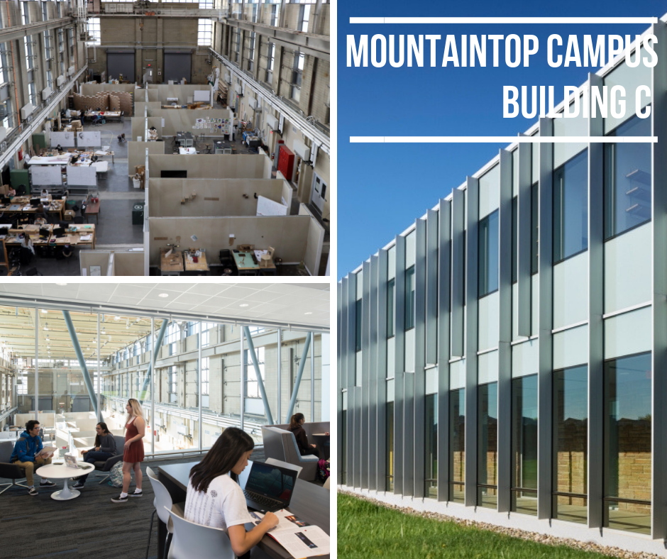 photo of study spaces in building C on mountaintop campus and building exterior