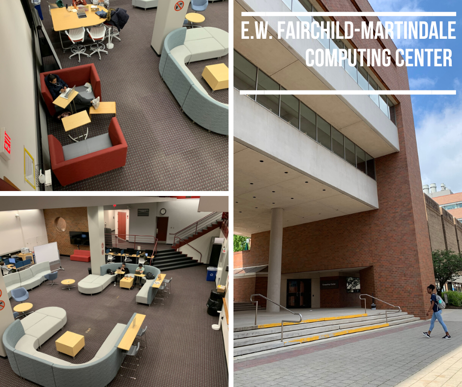 photo of study spaces in the EWFM Computing Center and building exterior