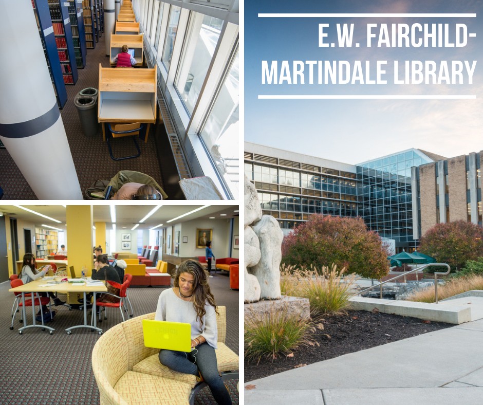 photo of study spaces in the EWFM Library and building exterior
