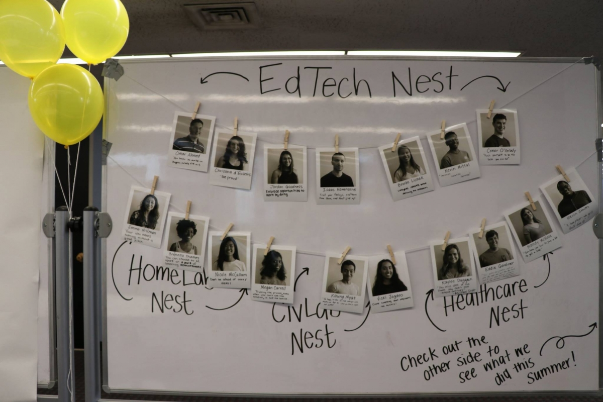 Photo of whiteboard with photos of edtech nest students