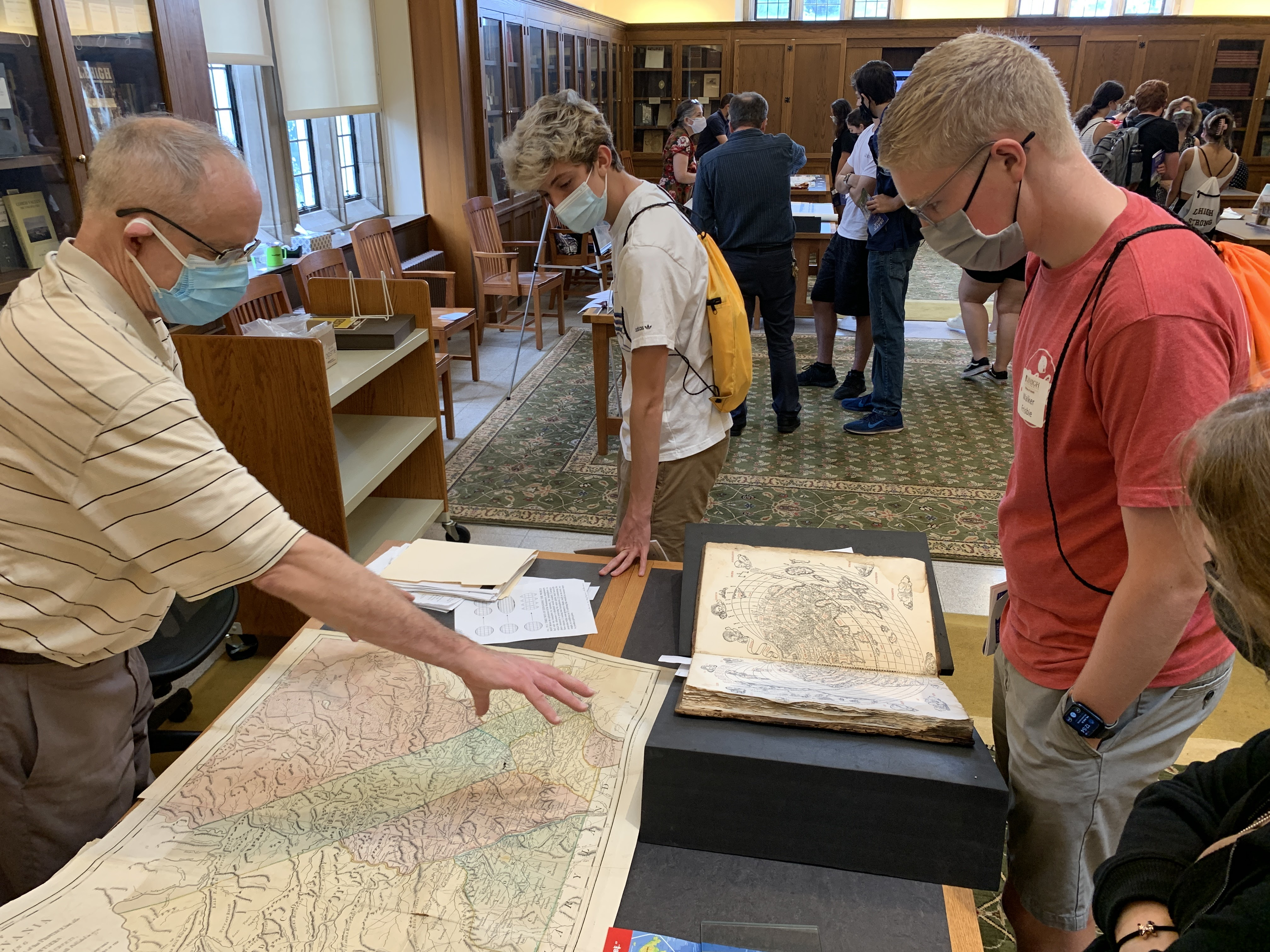 Brian Simboli showing students colonial map of Pennsylvania