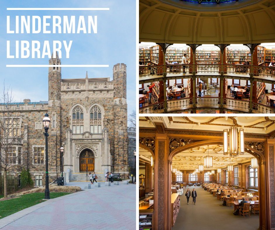 photo of study spaces in Linderman Library and building exterior