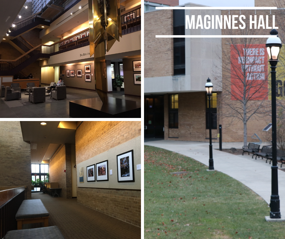 photo of study spaces in Maginnes Hall and building exterior