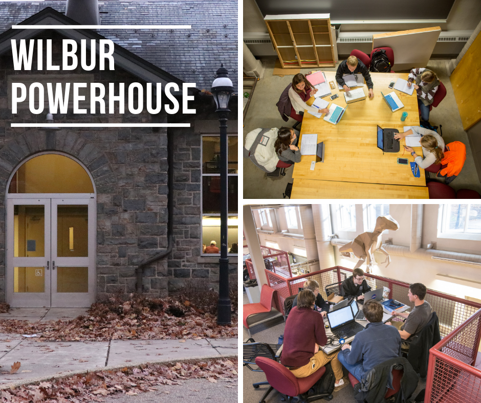 photo of study spaces in the Wilbur Powerhouse and its exterior