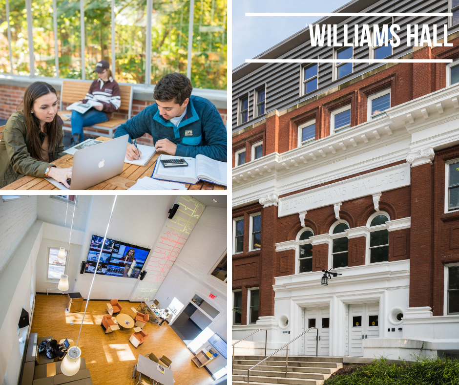 photo of study spaces in Williams Hall and its exterior