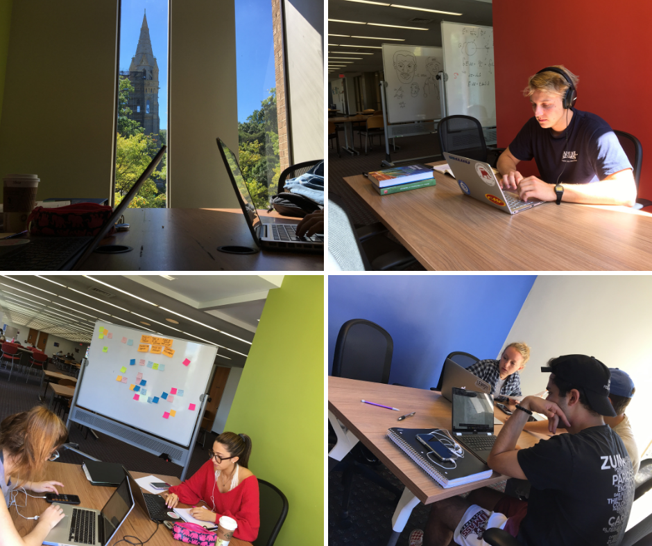 collage of students working in Lehigh EWFM Library new study nooks