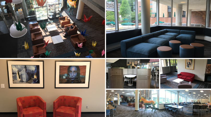 photos of ewfm library renovations and upgrades showing students in study spaces and new art installation