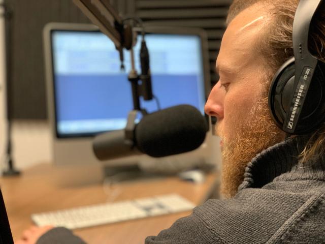 Kevin Kirner at the mic at Lehigh University Audio Recording Studio