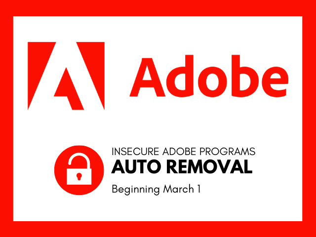 adobe logo with auto removal alert
