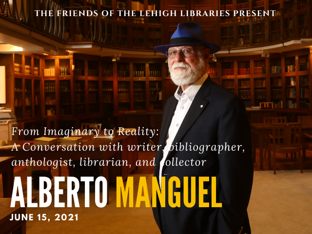 Photo of Alberto Manguel standing in a library with his hands in his pockets he is wearing a dark suit with white shirt and blue hat