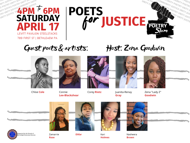 Friends of the Lehigh Libraries event: Poets for Justice Poetry Slam, Apr. 17