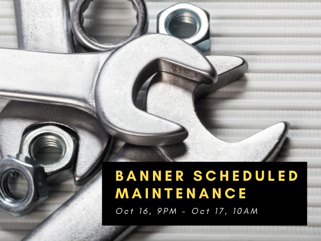 Banner scheduled maintenance over pile of wrenches