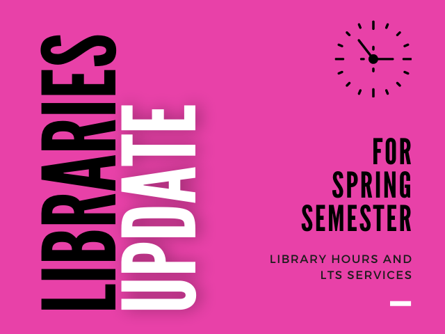 Libraries Update for Spring Semester on pink background