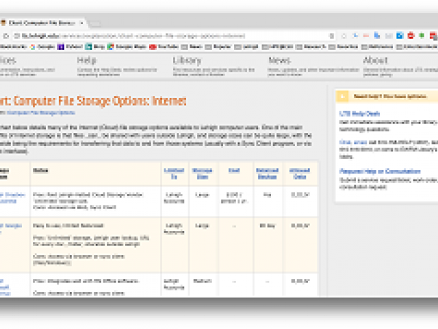 Image of cloud storage information page with examples of data storage options