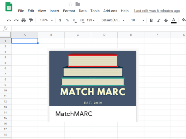 MatchMARC Google Sheets add-on