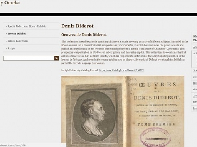Example screenshot of the Omeka site featuring Denis Diderot
