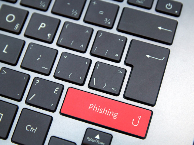 Phishing written on keyboard key