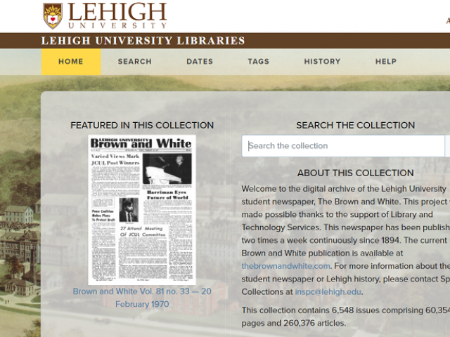 Lehigh University Brown and White newspaper digital archive
