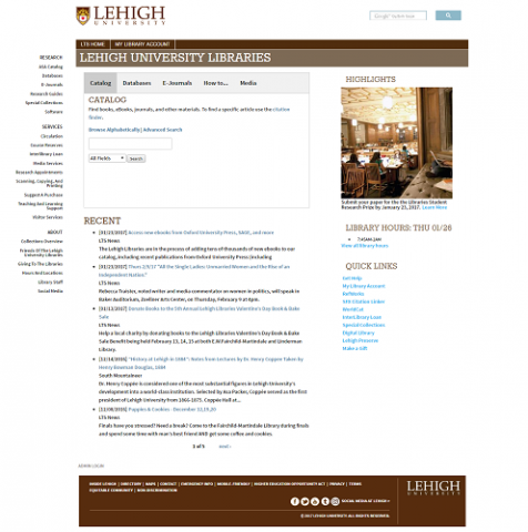 Screenshot of the library website home page