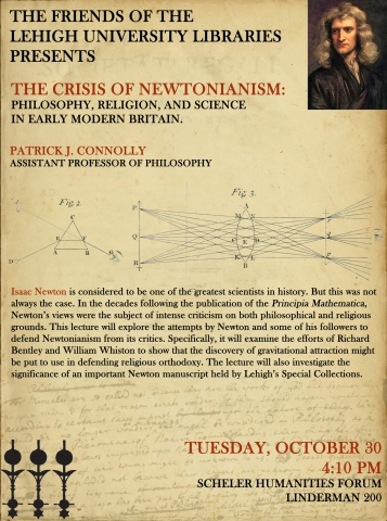 Friends of the Libraries speaker series poster for The Crisis of Newtonianism: Philosophy, Religion, and Science in Early Modern Britain