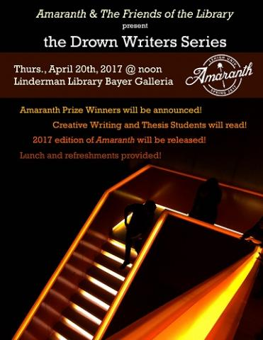 poster advertising the Drown Writers Series featuring student work