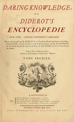 Poster advertising the Diderot's Encyclopédie Spring 2017 Library Exhibit