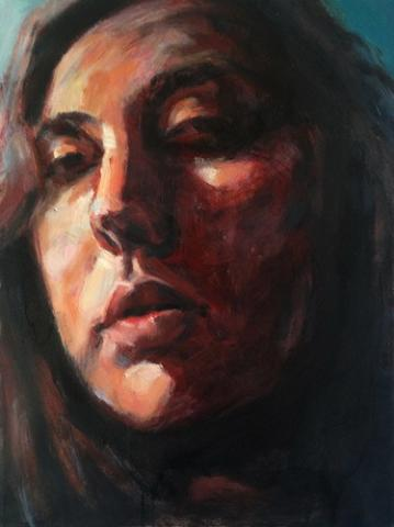 painting of a female face with the light falling on the right side of the face and the left side of the face in shadow.
