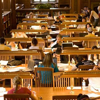 Photo of students studying in Linderman library