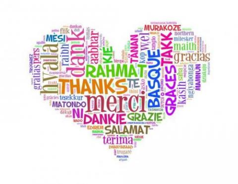 "Heart-shaped image with ""thanks"" in different languages"