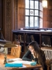 photo of female student at study desk in Linderman Library