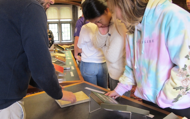 Students examine banned books on display