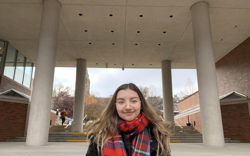 Michelle Modzelewska '20 in front of Lehigh University Computing Center