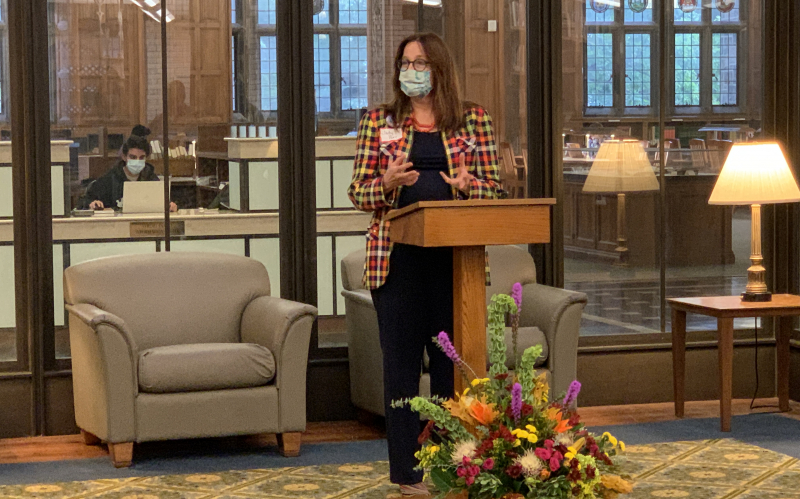 Judy Parr, President of the Friends of the Lehigh University Libraries gives opening remarks at 10th annual Harvest of Ideas reception in Linderman Library