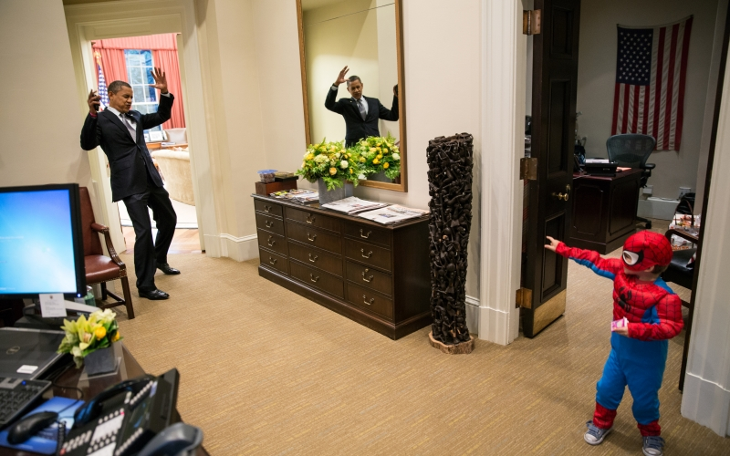 President Barack Obama Plays with Nicholas Tamarin in the Outer Oval Office