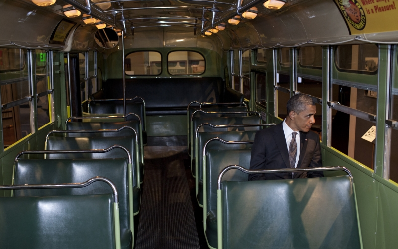 President Barack Obama Sits on the Famed Rosa Parks Bus at the Henry Ford Museum