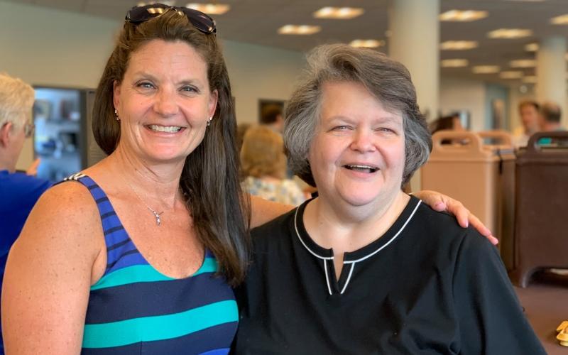 Karen Haduck with retiree Pat Ward